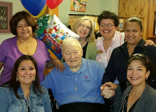 Bro. Joe Barrett celebrated his 90th birthday surrounded by friends at the Marianist Residence in San Antonio.