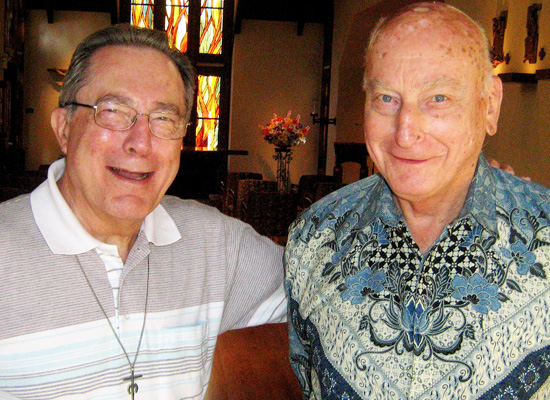 A SUPERIOR MOMENT: Two esteemed Marianists, Fr. Manuel Cortés and Fr. Steve Tutas, were together at the Marianist community in Cupertino. Fr. Cortes is the 14th and current superior general of the Society of Mary worldwide; Fr. Tutas served as the 10th superior general from 1971 to 1981.