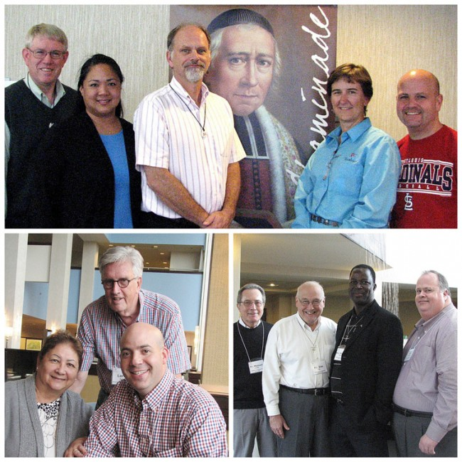 (top): Retreat center directors and LIFE director: Brent Devitt; Bergamo; Toni Mesina, LIFE; Jim Ford, Marianist Retreat Center; Kay Tally-Foos, Tecaboca; and Anthony Fucci, Marianist Family Retreat Center; (bottom), Patricia Rickard, principal, St. Anthony Jr./Sr. High School; Larry Keller, assistant to the Office of Sponsorship; and Todd Guidry, principal (middle school), Chaminade College Preparatory (St. Louis); and Fr. Manuel Cortés, superior general of the Society of Mary; Fr. Jim Fitz, vice president for mission and rector at the University of Dayton; Bro. Max Magnan, assistant for education for the Society of Mary; and Dan Donnelly, director of the Office of Sponsorship