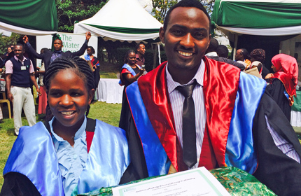 Mildred Adhiambo Ikeya and Michel Githae Maina, both graduates of Our Lady of Nazareth, received degrees this month.