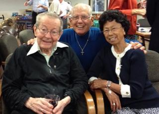 Joining Bro. John Totten for his 101st birthday celebration were Bro. Al Kuntemeier and Sr. Durie Kim.