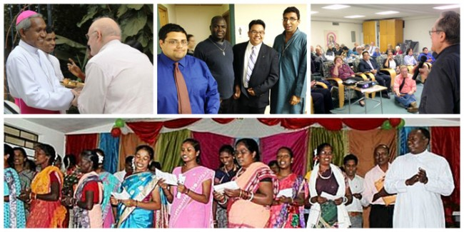 Top, Fr. David Fleming greets Ranchi Auxiliary Bishop Telesphore Bilung, SVD; Novice Justin Quiroz, Fr. Callistus Jeje, Novice Allen Pacquin and Bro. Saju Chittadiyil in Dayton; Fr. Cortes speaks to the Dayton gathering; bottom, joyous dancing at the cultural program in Ranchi, India, with Fr. James Dungdung. Photos courtesy Bro. Tom Giardino and Fr. Dungdung.