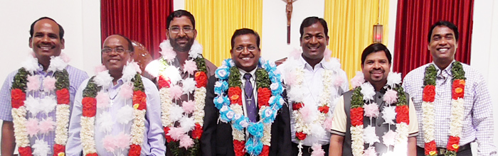 During Eucharist on Jan. 1, new leadership for the District of India was installed. Congratulations to the new council: Bro. Arokia Doss Ambrose, councilor; Bro. Paulus Lakra, asst. for temporalities; Fr. Varghese Manooparampil; asst. for religious life; Bro. Augustus Surin, district superior; Fr. Sudhir Kujur, asst. district superior; Fr. Bhaskar Galleli; asst. for education; and Bro. Marianus Bilung, councilor.