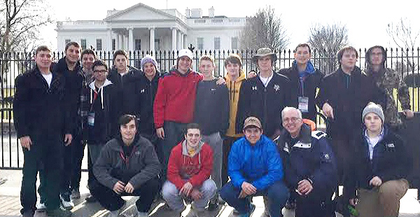 Students from St. John Vianney High School, along with Fr. Tim Kenney, gather in front of the White House during their trip to Washington, D.C., for the March for Life.