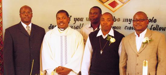 We congratulate John Kamau Mwaura, who professed his first vows in the Society of Mary (Region of Eastern Africa) on Jan. 25. From left are Fr. Joseph Mwaura, Fr. Gabriel Kiranga, Bro. Erick Otiende, Bro. John and Bro. Dingiswayo Soko.