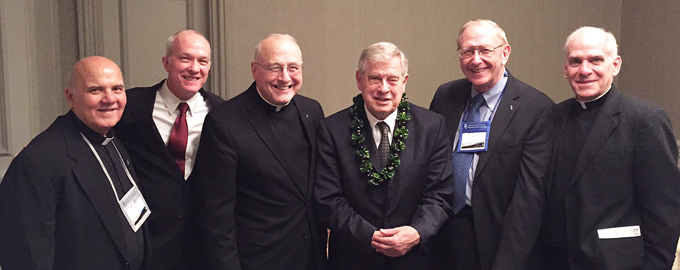 Fellow Marianists joined Bro. Ray Fitz in Washington, D.C., as he received the ACCU honor. From left, Fr. George Cerniglia, Bro. Ed Brink, Fr. Jim Fitz, Bro. Ray, Bro. Bernie Ploeger and Fr. Marty Solma.