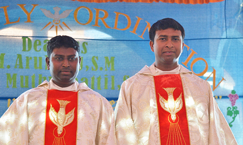 In late January, the District of India celebrated the ordination of brothers F. Arul Raj and Jinu Muthukattil to the ministerial priesthood. The ordination was performed by Bengaluru Archbishop Bernard Moras.