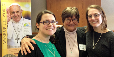 Death penalty activist Sr. Helen Prejean with Marianist Sister pre-novices Gabby Bibeau (left) and Caitlin Cipolla-McCulloch.