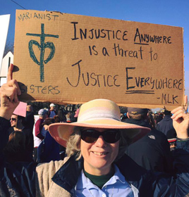 Sr. Laura Leming at the MLK Day march in San Antonio.