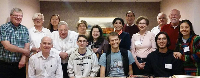 Members of the Marianist Lay Formation Initiative join members of the Marianist Provincial Council at the Province office in St. Louis in March.