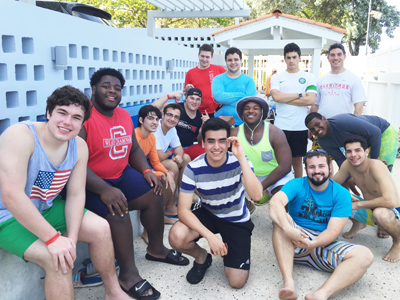 Chaminade College Prep (St. Louis) students gather with their Colegio San José peers in Puerto Rico.