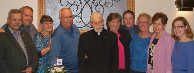 Members of the Hearts on Fire Marianist Lay Community joined Fr. Rich to celebrate his 88th birthday.Community members include, from left, Phil Forte, Jack Bonney, June Bonney, Bill Bauman, Fr. Richard Kuhn, Tina Bauman, Paul Schirmer, Carol Wellman, Elaine Hughes and Lisa Hackett.
