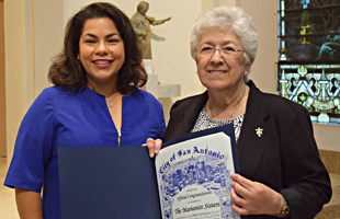 Councilwoman Rebecca Viagran presented a proclamation from the City of San Antonio to Sr. Evangeline Escobar.Sr. Evangeline is provincial of the Marianist Sisters in the United States.