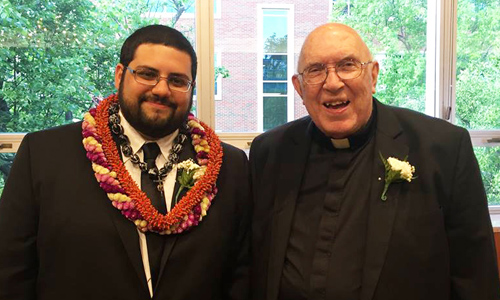New Marianist Bro. Justin Quiroz with Fr. Bill Behringer.