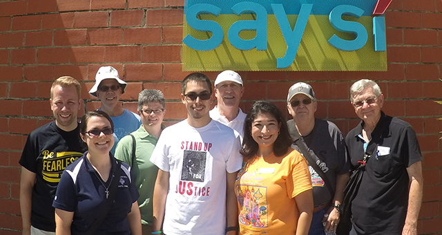 "Changemaker participants visited ""Say Sí,"" a youth development program, and other social service agencies in San Antonio as part of the weekend activities: Brian Halderman, Sr. Gabrielle Bibeau, Bro. Brian Zampier, Tara Poling, Gerardo Oyervides, Jenee Margo Gonzales, Jack Burke, Phillip Welsh and Bro. Stan Zubek."