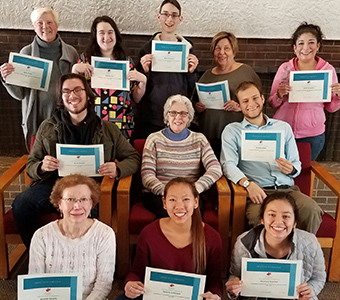 Members of the Marianist Lay Formation Initiative meeting in Dayton included, front row: Annette Kovarik, Christie Catterson, Amy Franco; middle row: Jacob Alexander Henson, Pati Krasensky, Matthew Keller; and back row: Beth Blackburn-Fedick, Kelly Brenner, Mark Zeitmann, Silvana Ventucci, Jenee Margo Gonzales