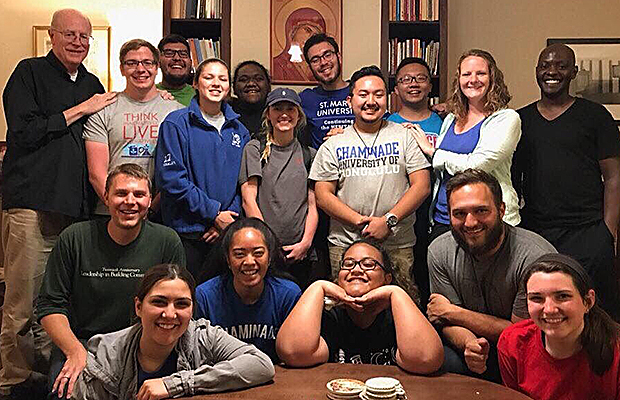 Fr. Jim Heft, Austin Hillman, Carlos Rodriguez, Madi Perales, Taniela Tuihalafatai, Meghan Geraci, Jacob Henson, Pono Riddle, Joseph Zhao, Maureen O'Rourke, Bro. Mike Chiuri Bro. Brandon Paluch, Giselle Schoenmakers, Valerie Miles, Nerisa Taua, Brian Buchmeyer, Shelbie Weightman