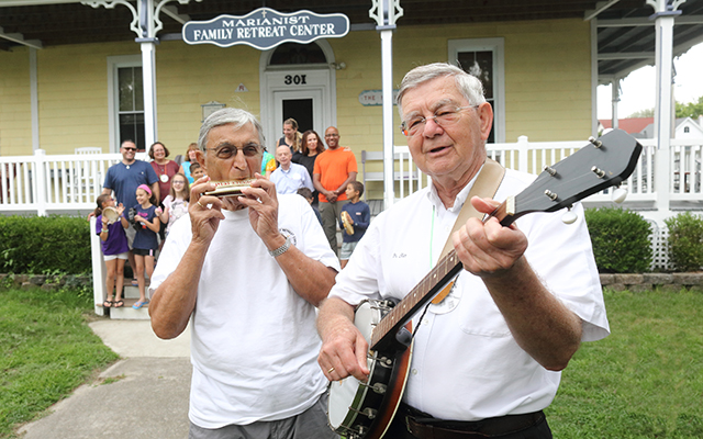 Accompanied by Bro. Al Koch on harmonica, Bro. Stan Zubek and his banjo are a favorite of visitors and staff at the Marianist Family Retreat Center in Cape MayPoint, New Jersey.