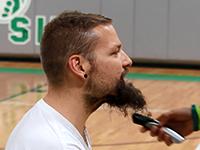 St. Mary's art teacher Matt Kleinberg says goodbye to his beard.