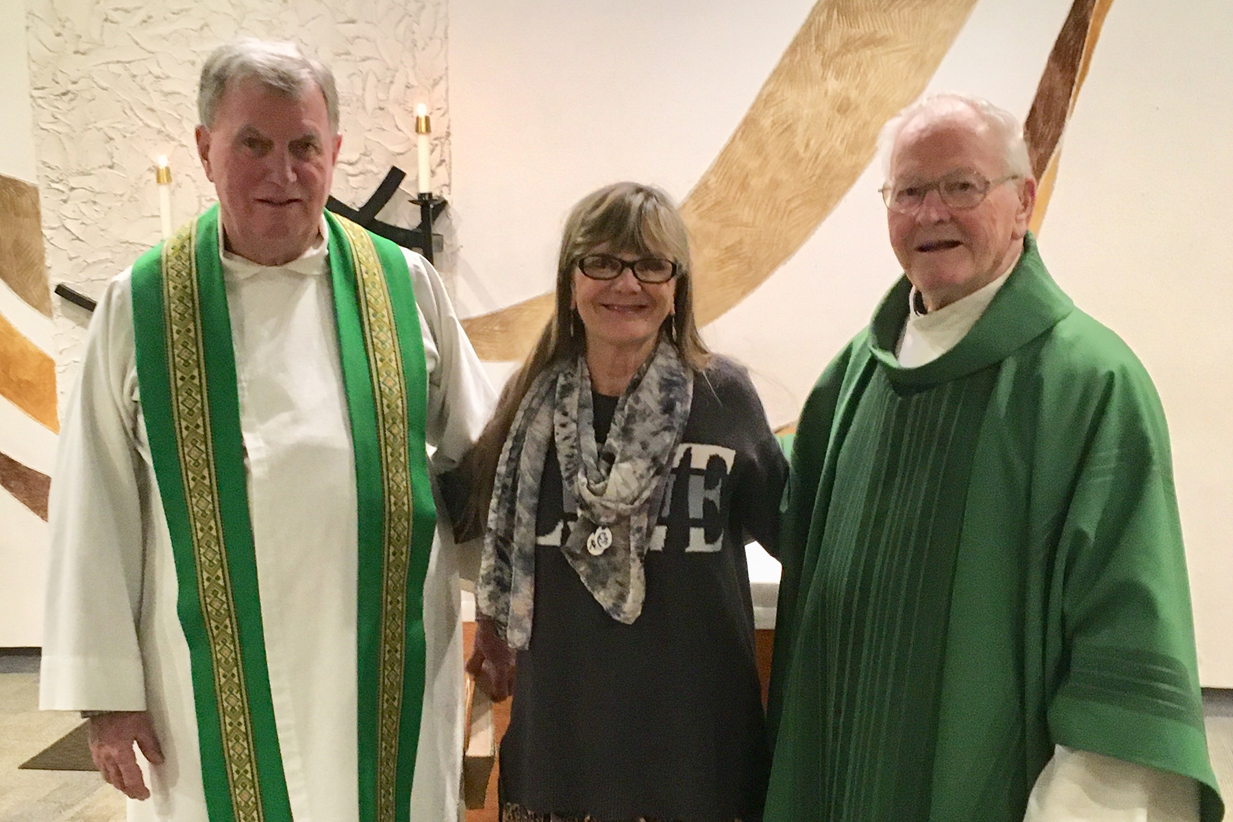 Fr. Dennis Doyle, Diana Gorham, and Fr. Al McMenamy